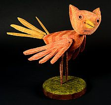 "CatBird by Bruce Chapin (Wood Sculpture) (13"" x 7"")"