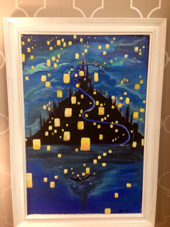 Disney S Tangled Lantern Castle Rapunzel Scene By Vinnifer On Etsy Tangled Lanterns Painting Disney Art