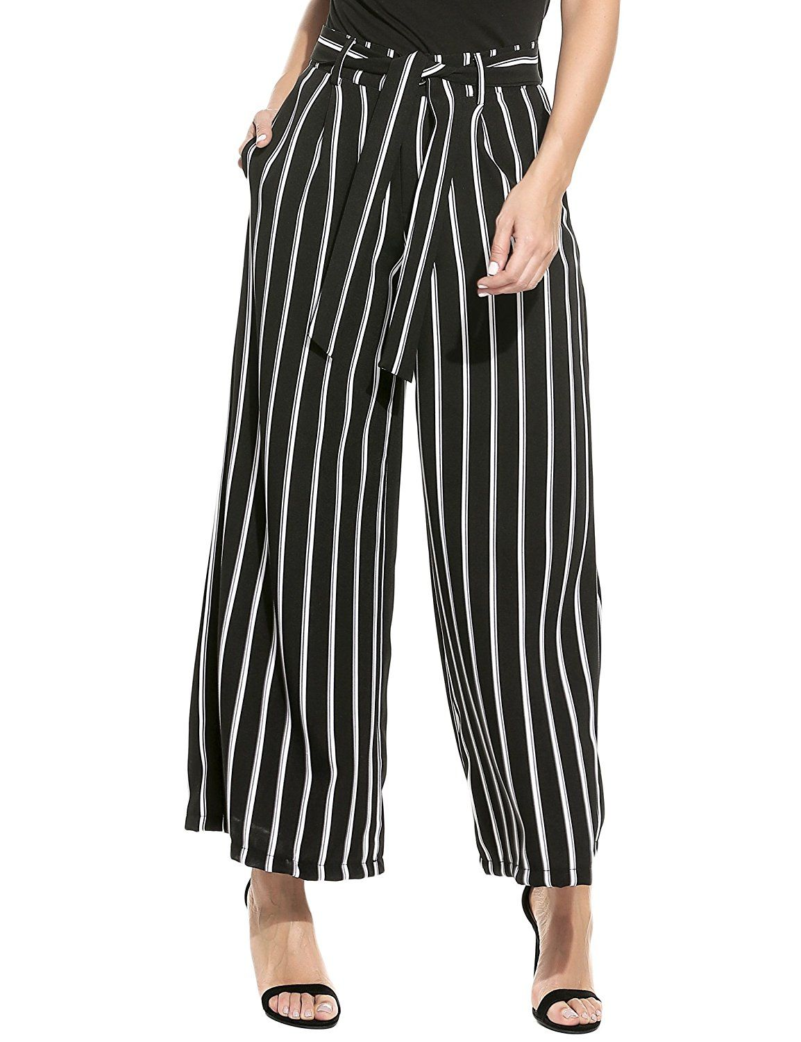 Zeagoo Women's Super Comfy Stripe Flowy Wide Leg High Waist Belted Palazzo  Pants Capris,Black