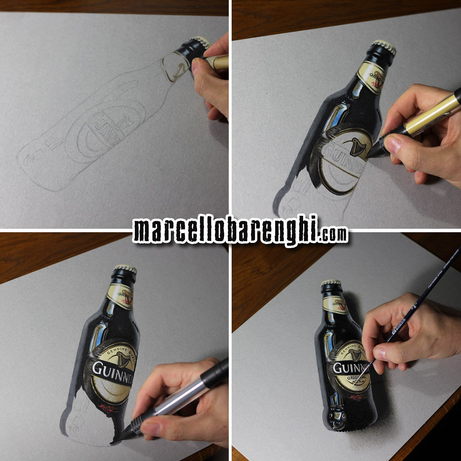Marcello Barenghi: A bottle of Guinness beer - drawing ...