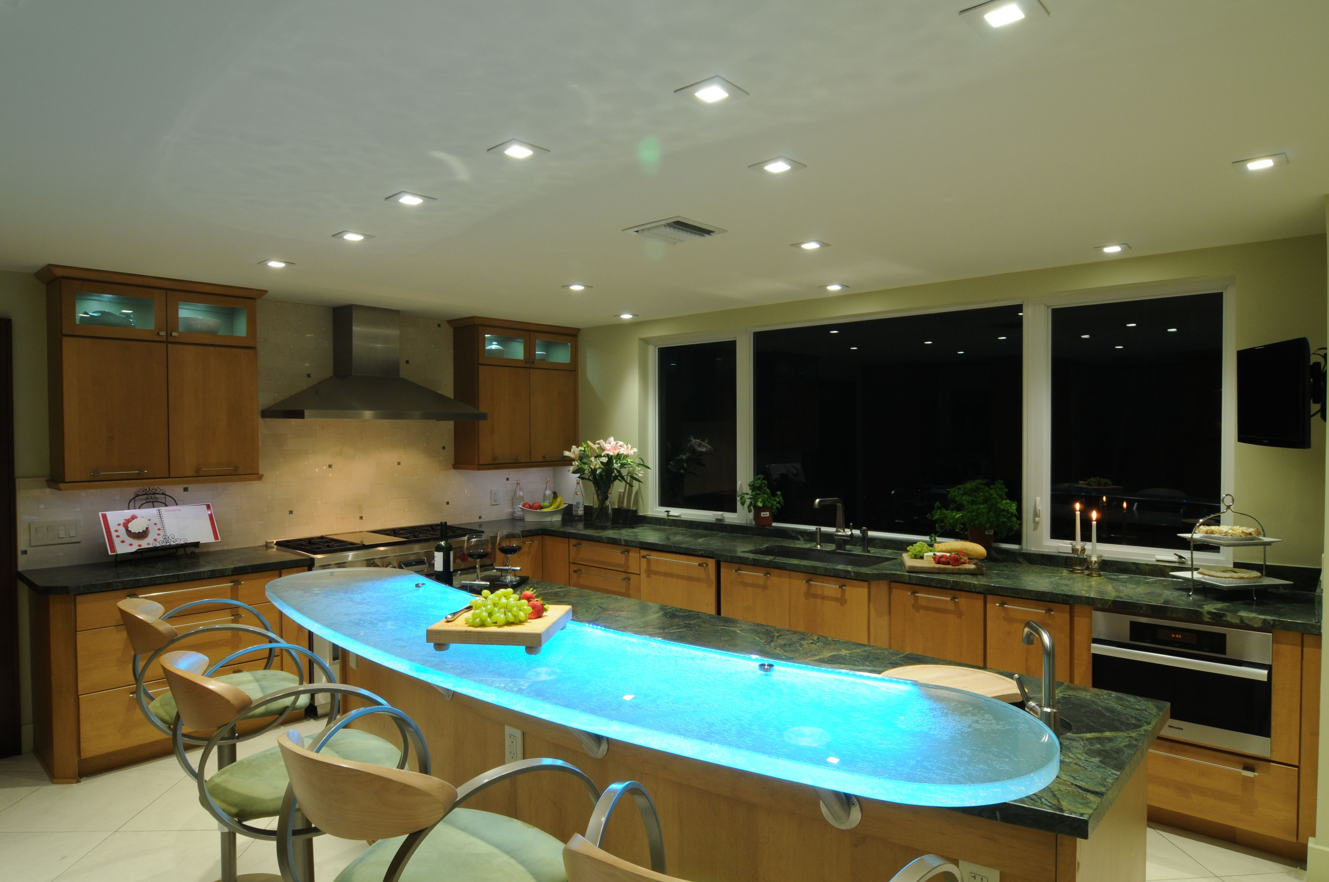 Think Glass Countertops Kitchen Remodel Done By Us By Combining Glass Countertops And Led