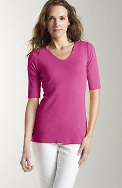 6a7305079 perfect pima cotton elbow-sleeve V-neck tee. J. Jill. $26.25 | My ...