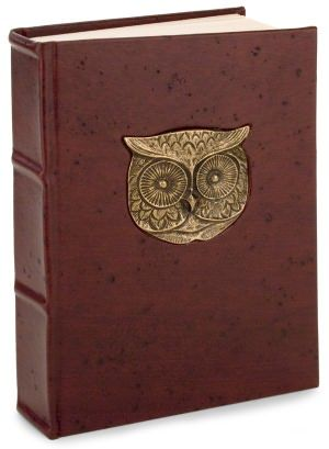 """Owl Journal - Metal Owl Head Brown Italian Leather Thick Lined Journal (6""""x9"""") - 39.95 dollars"""