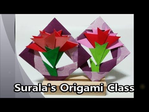 Origami carnation origami carnation clove pink paper carnation flower paperfolding folding paper in korea we give our parents and teachers red carnations to thank mightylinksfo Images