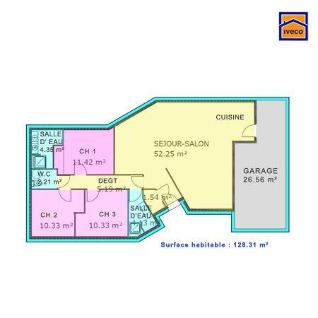 plan maison plein pied 3 chambres