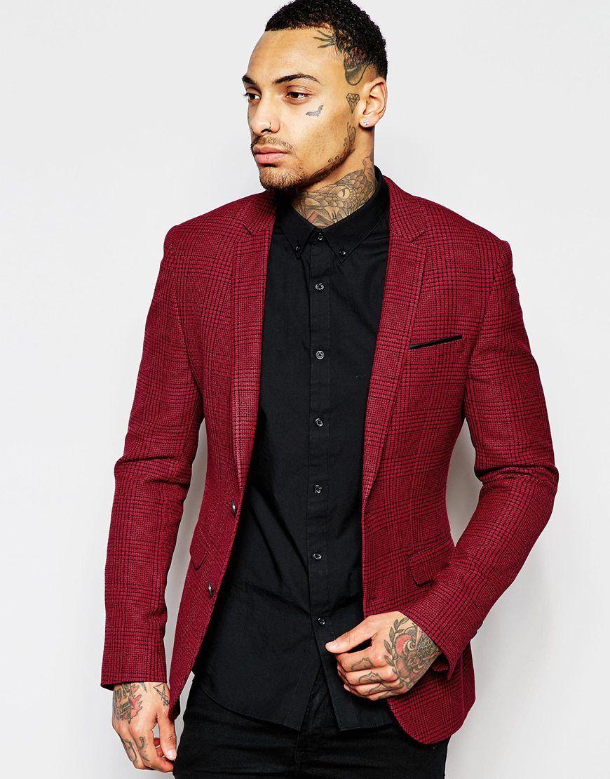 Image 1 of ASOS Superskinny Blazer In Check In Red | Men's fashion ...