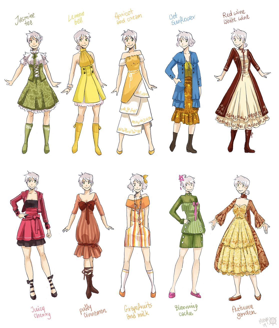 Various Female Clothes 2 By Meago On Deviantart Manga Clothes Clothes Illustration Clothes For Women