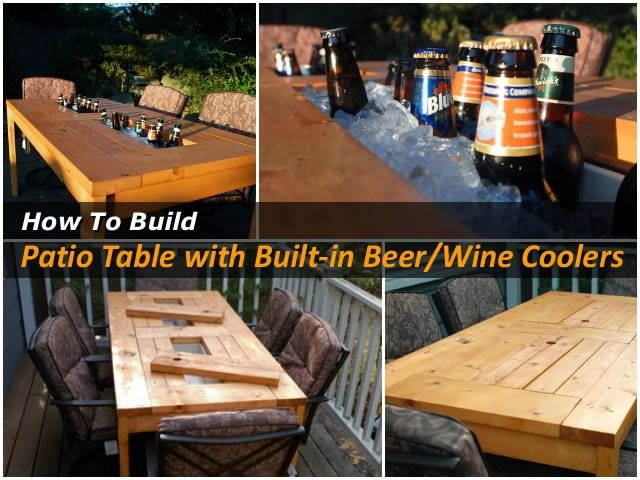 DIY Wood Patio Table With Built In Beer/Wine Cooler