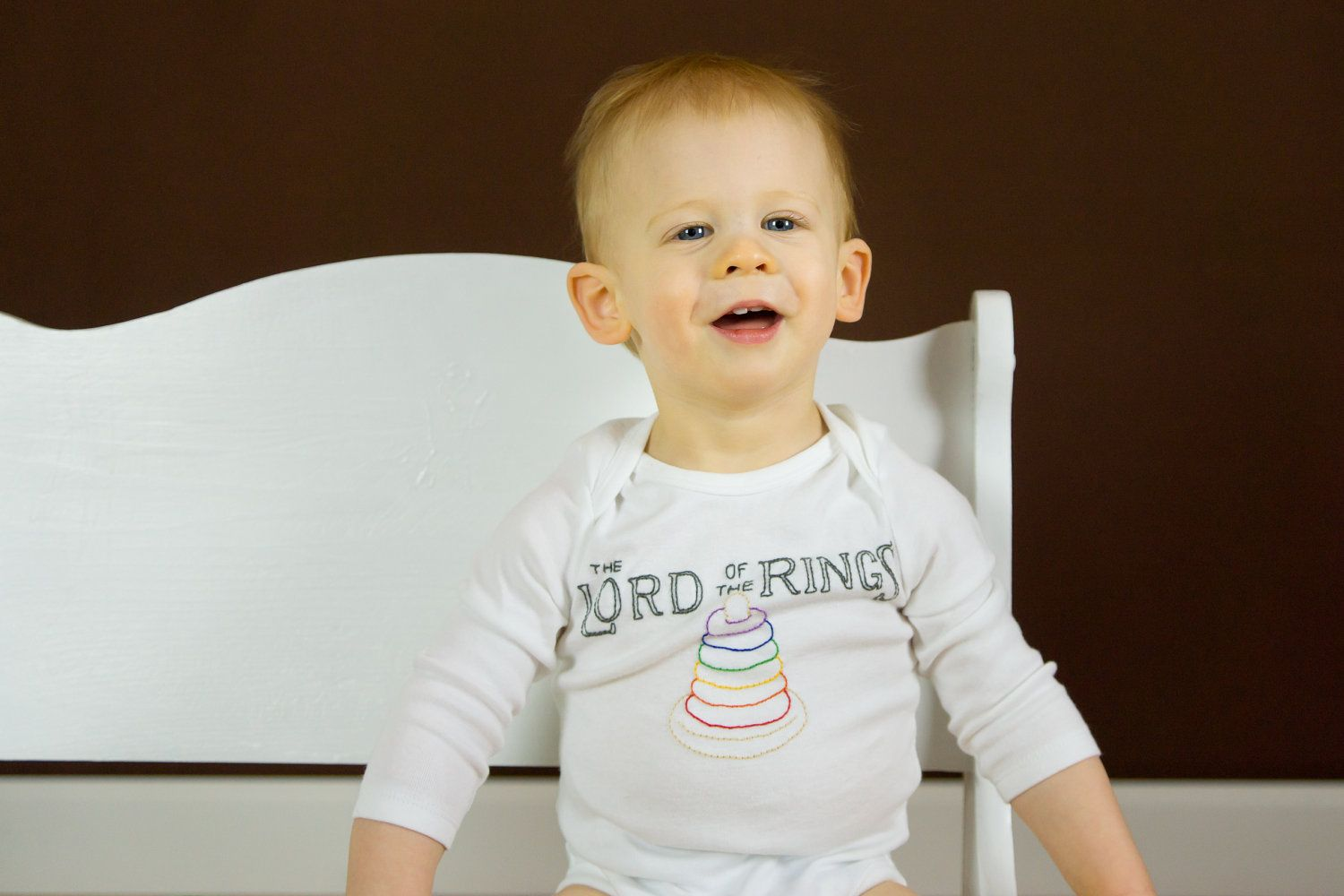 Handembroidered Lord of the Rings onesie made to by jhouseward, $20.00