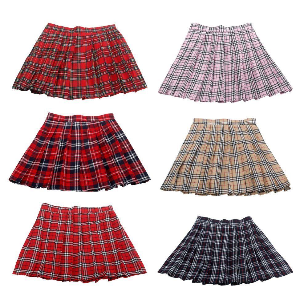 811deaced725 Lolita Cosplay Japan School Girls Uniform Dress Plaid Pleated Mini Skirt  Pretty
