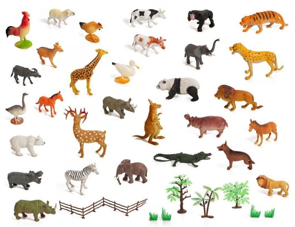 Set Of 30 Large Size Zoo Set Wild Jungle Farm Desert Animals In