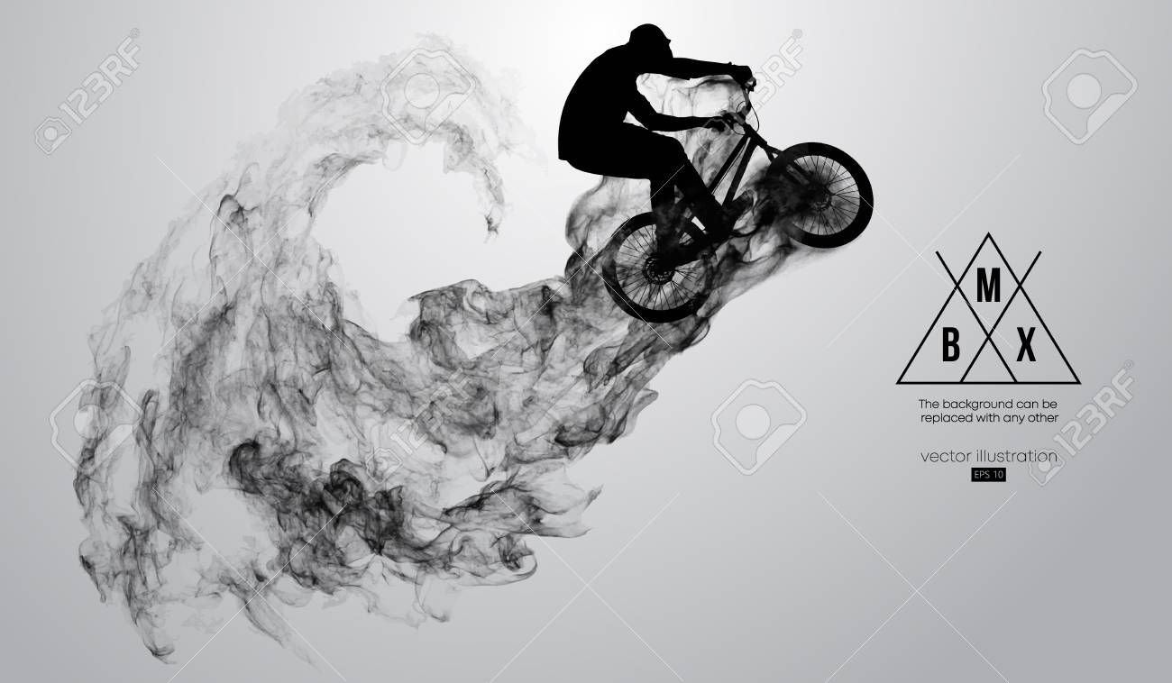 Abstract silhouette of a bmx rider on the white background from particles dust smoke steam Bmx rider jumps and performs the trick Background can be changed to any other V...