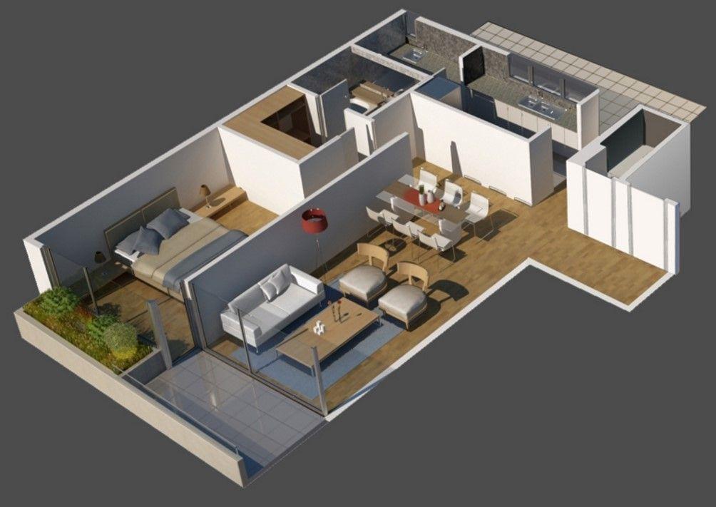 planos de casas modernas 2 ambientes