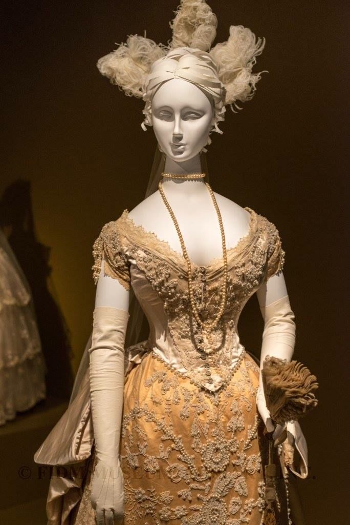 """Wedding Gown altered into Court Presentation Gown, c. 1885. From the """"BLISS:19th-Century Wedding Gowns from The Helen Larson Historic Fashion Collection"""" exhibition at the FIDM Museum. See: https://www.facebook.com/photo.php?fbid=648487985199160&set=a.119612318086732.9895.112063475508283&type=1&theater"""
