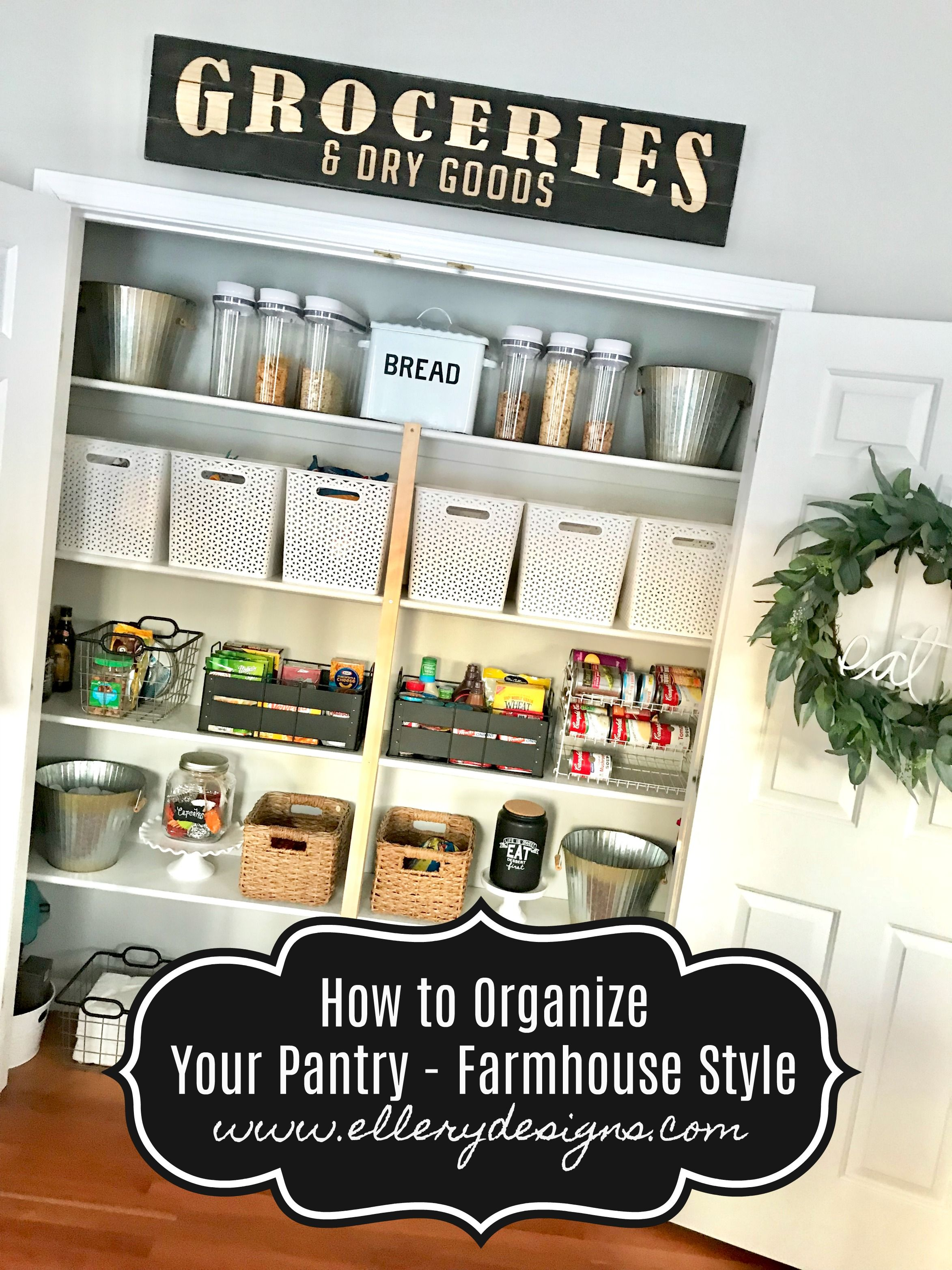 How to organize your pantry - farmhouse style – www.ElleryDesigns.com