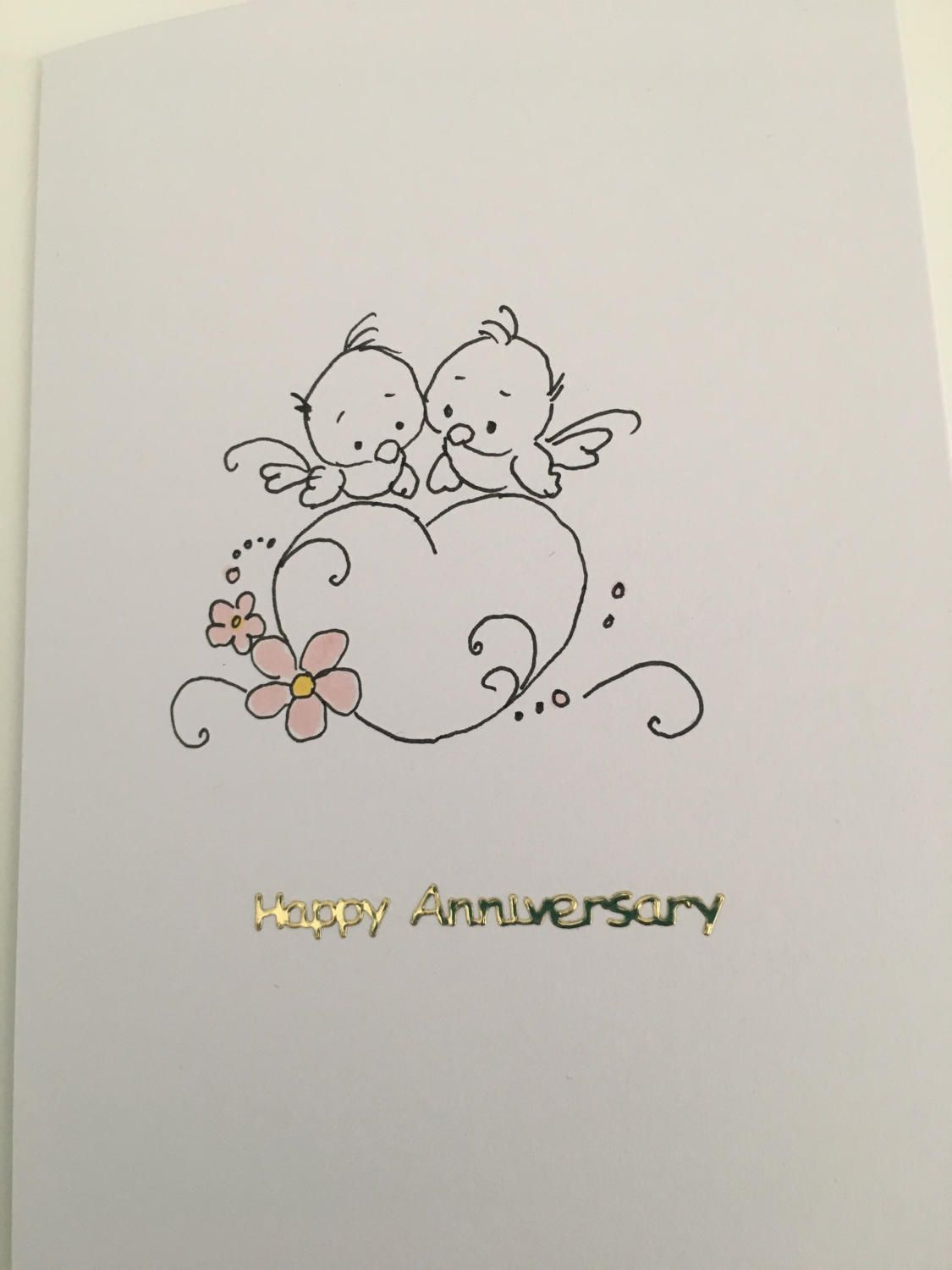 Happy Anniversary Card Hand Drawn By Lilyinnovationdesign On Etsy Card Drawing Happy Anniversary Cards Anniversary Cards