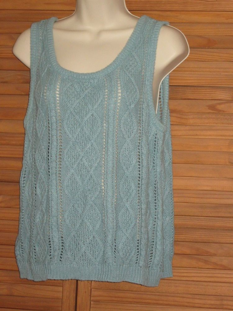 Chadwick's Light Blue Sweater Vest Tank Top Size L #CL51 ...