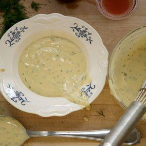 Mustard–Dill Sauce (Gravlaxsås)  This is the perfect partner to Gravlax.     2 tbsp. dijon mustard  1 tbsp. fresh lemon juice  1 tbsp. red wine vinegar  1 tsp. sugar  5 tbsp. extra-virgin olive oil  2 tbsp. heavy cream  1 tbsp. finely chopped fresh dill
