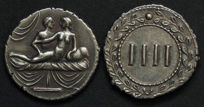 """This is a spintria. They were used in ancient Rome to request and pay for different """"services"""" in brothels and from prostitutes on the street. Since there were a lot of foreigners coming to the city that did not speak the language and most of the prostitutes were slaves captured from other places the coins made the transactions easy and efficient. One side of these coins showed what the buyer wanted and the other showed the amount of money to be paid for the act."""