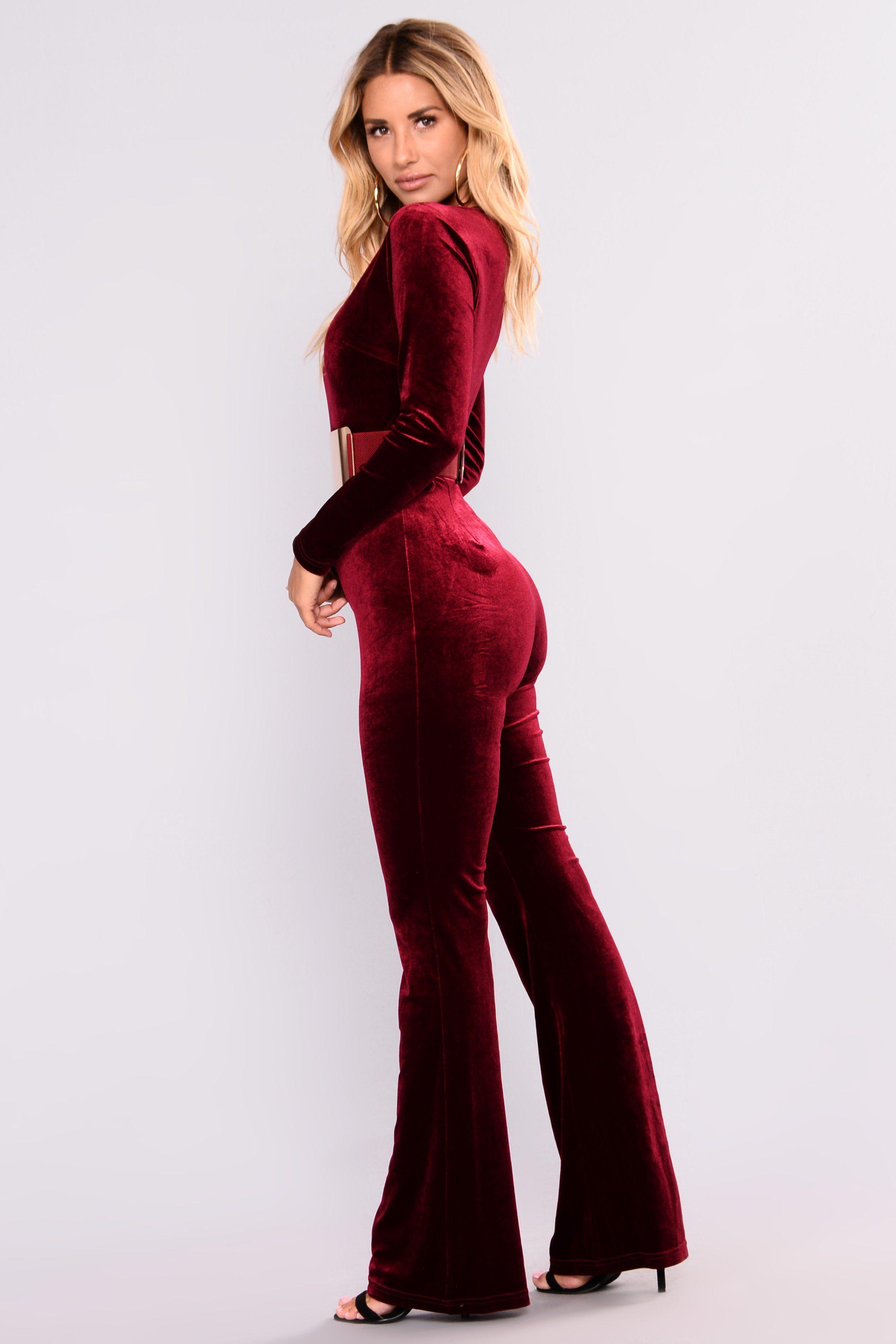 1f618ca394a1 Alayna Velvet Jumpsuit - Burgundy