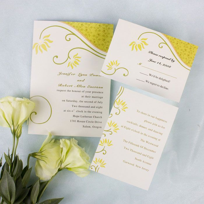 Affordable Simple And Rustic Yellow Floral Wedding Invitations EWI116