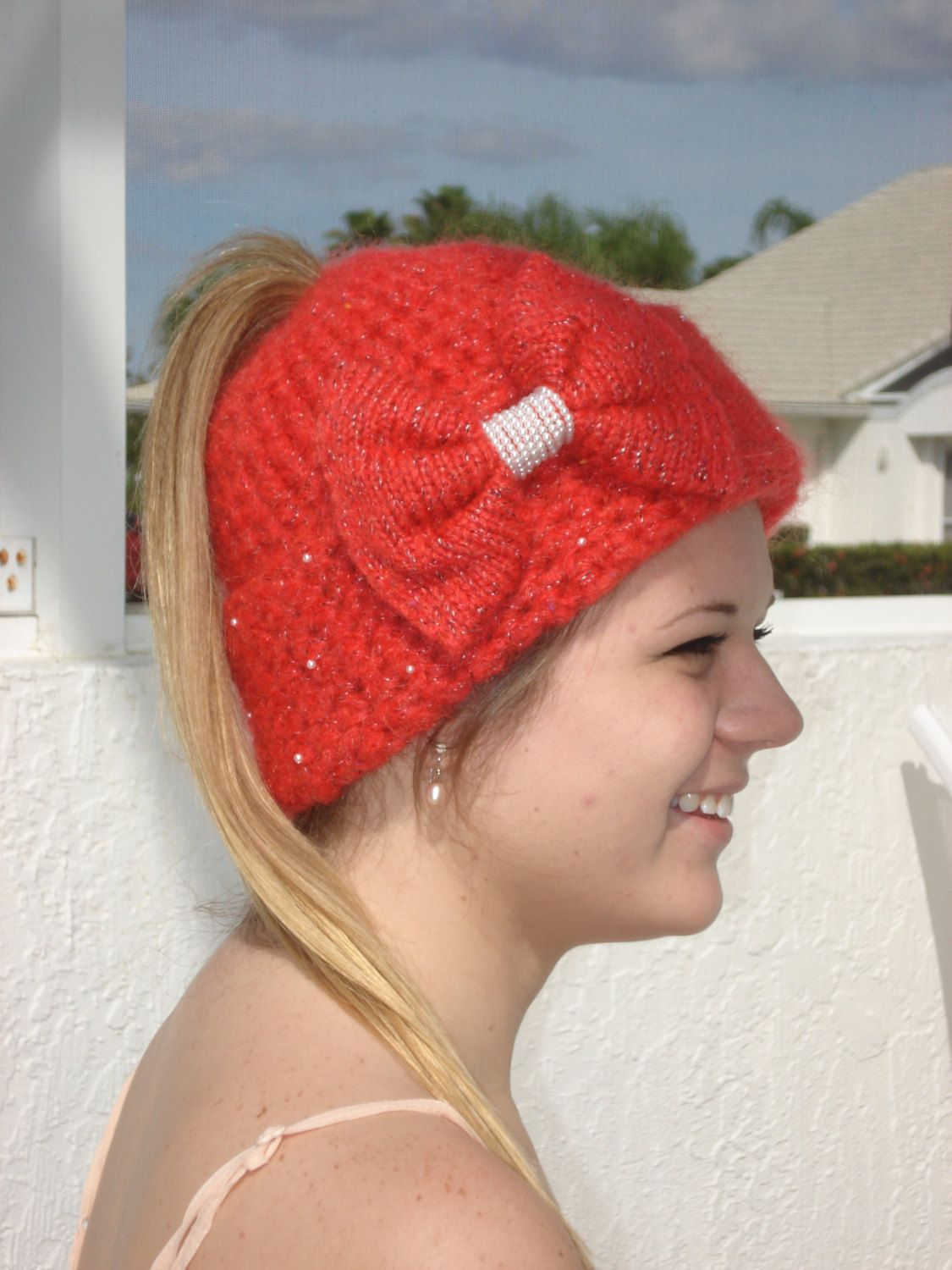 Handmade ,Red Crochet and Knit Ponytail hat embellished with bow and ...