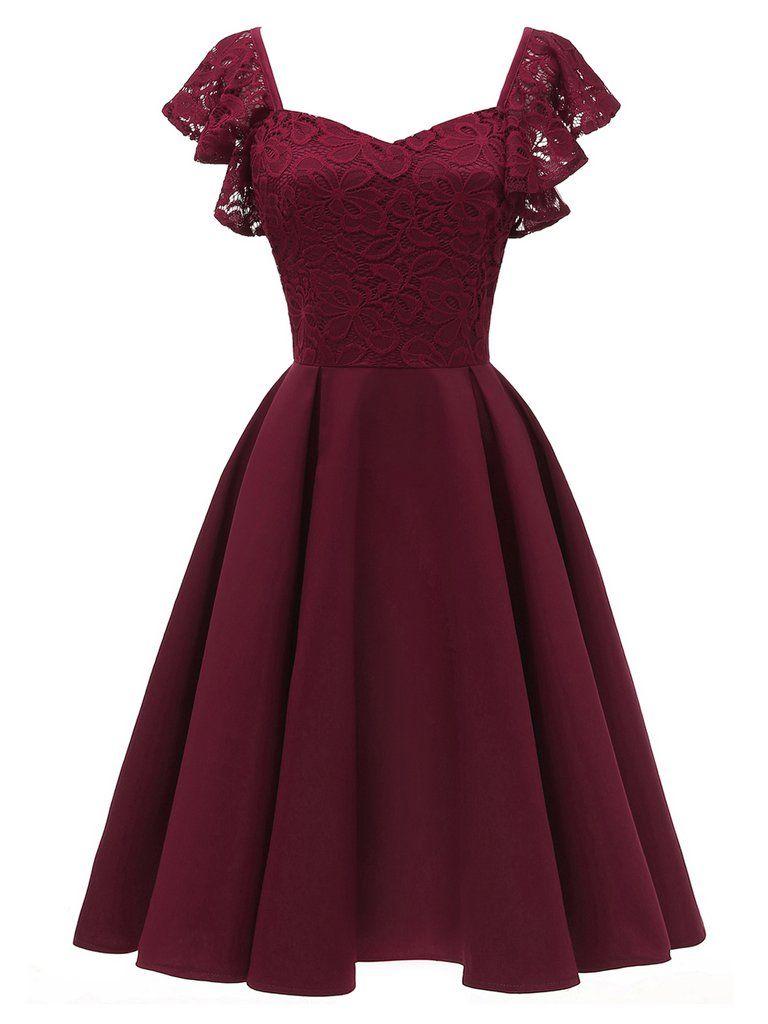 19er weinrot solide satin swing kleid  Elegantes cocktailkleid