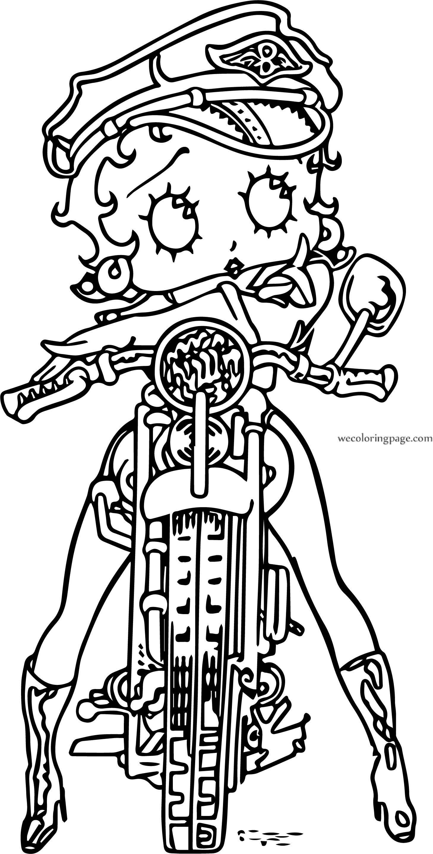 Betty Boop Bike Front Coloring Page Betty Boop Pinterest