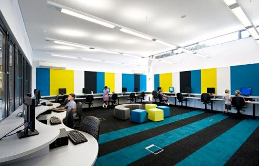 Colorfull Schools Design Computer Room Elementary Computer Lab Interior Design School School Interior
