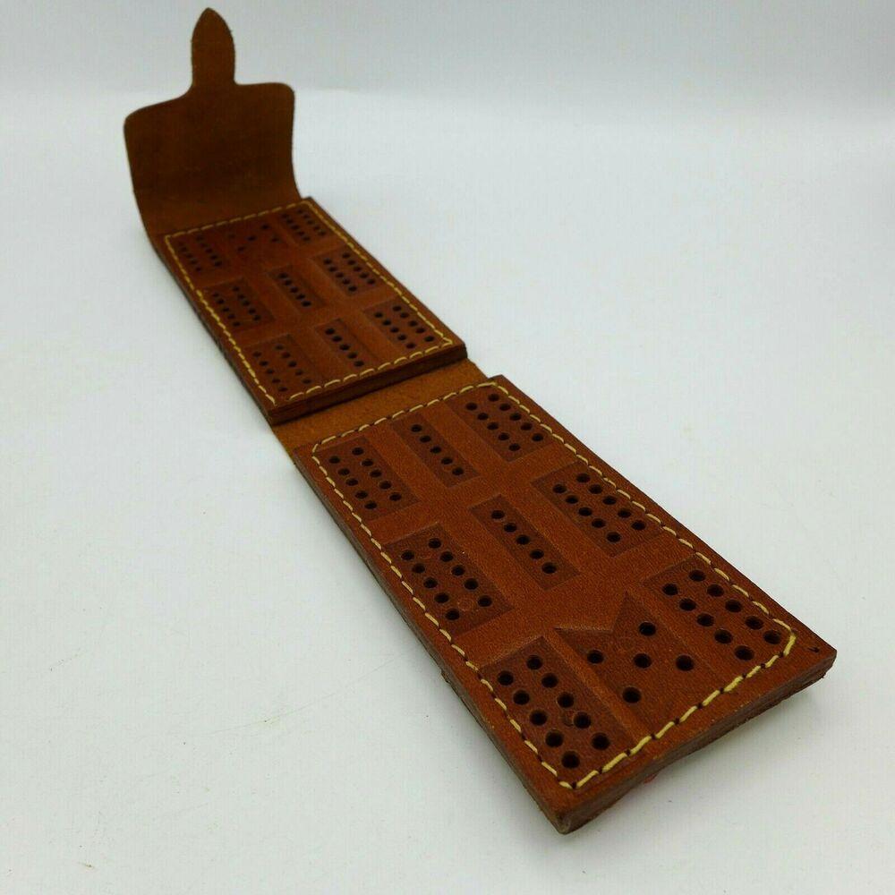 Vintage Leather Folding Pocket Travel Cribbage Board Peg