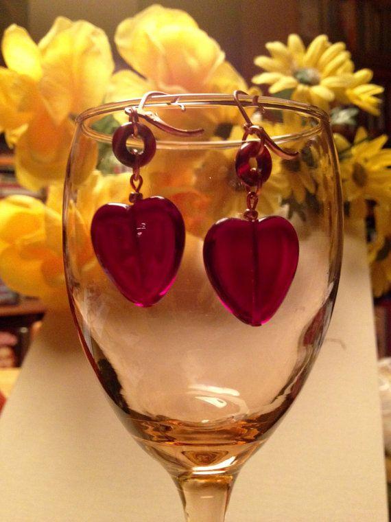 Glass Heart Earrings by TribeWriter Jewels at https://www.tribewriterjewels.com/