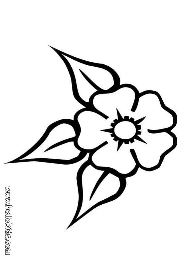 outline pictures flowers coloring pages for kids | Flower Coloring Page | Adult Coloring Pages | Flower coloring pages, Coloring pages, Leaf template