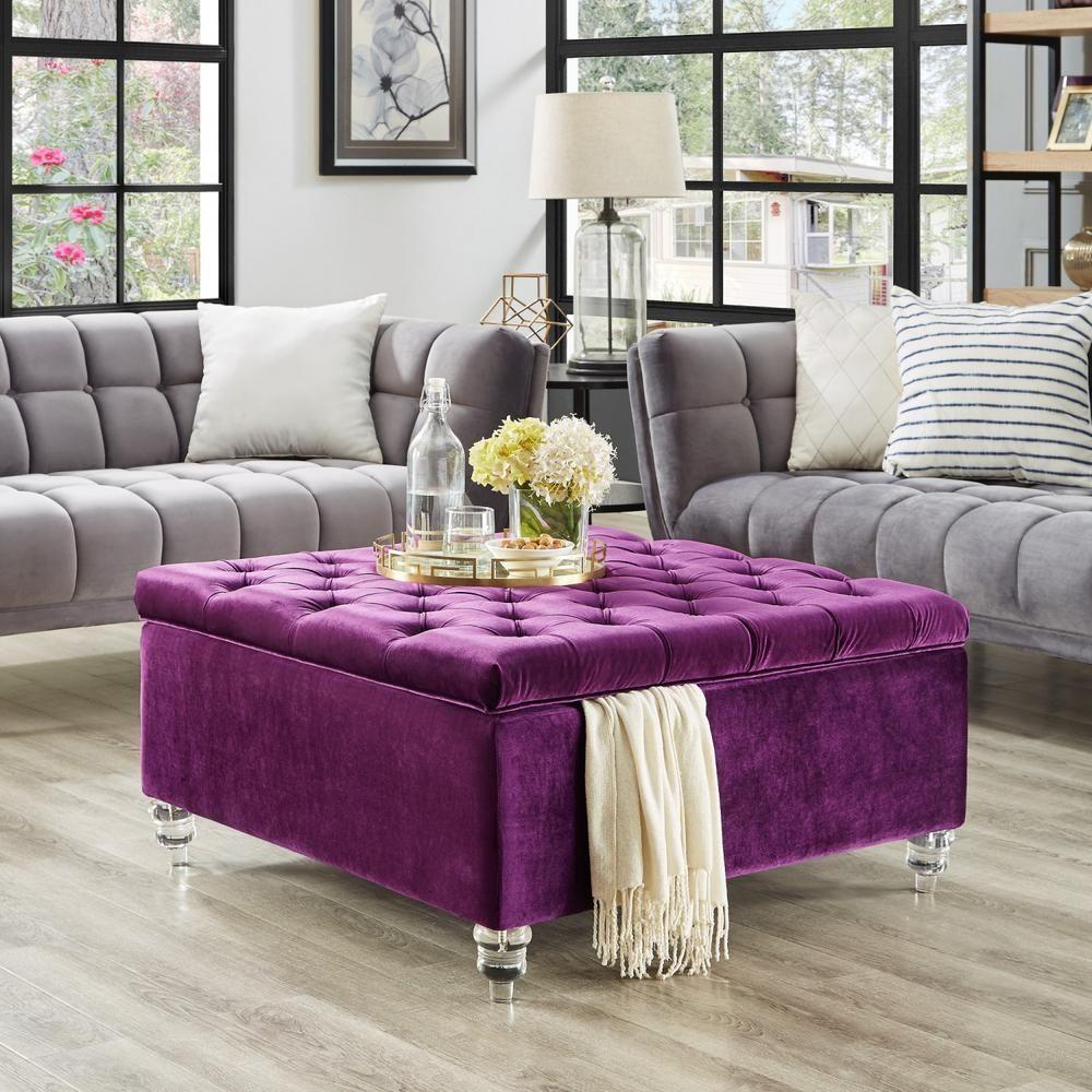 Saige Purple Velvet Tufted