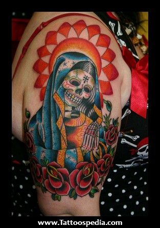Virgin Mary Sugar Skull Face Tattoo Tattoos Tattoos Skull
