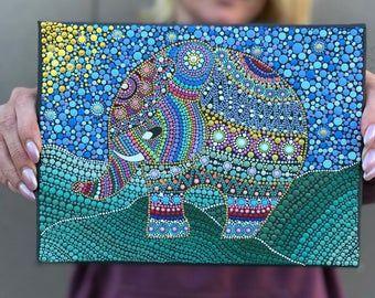 Peint à la main Pointillé Mandala Souvenir Plaque Énergie Mandala en 2020 | Mandala, Peinture ...