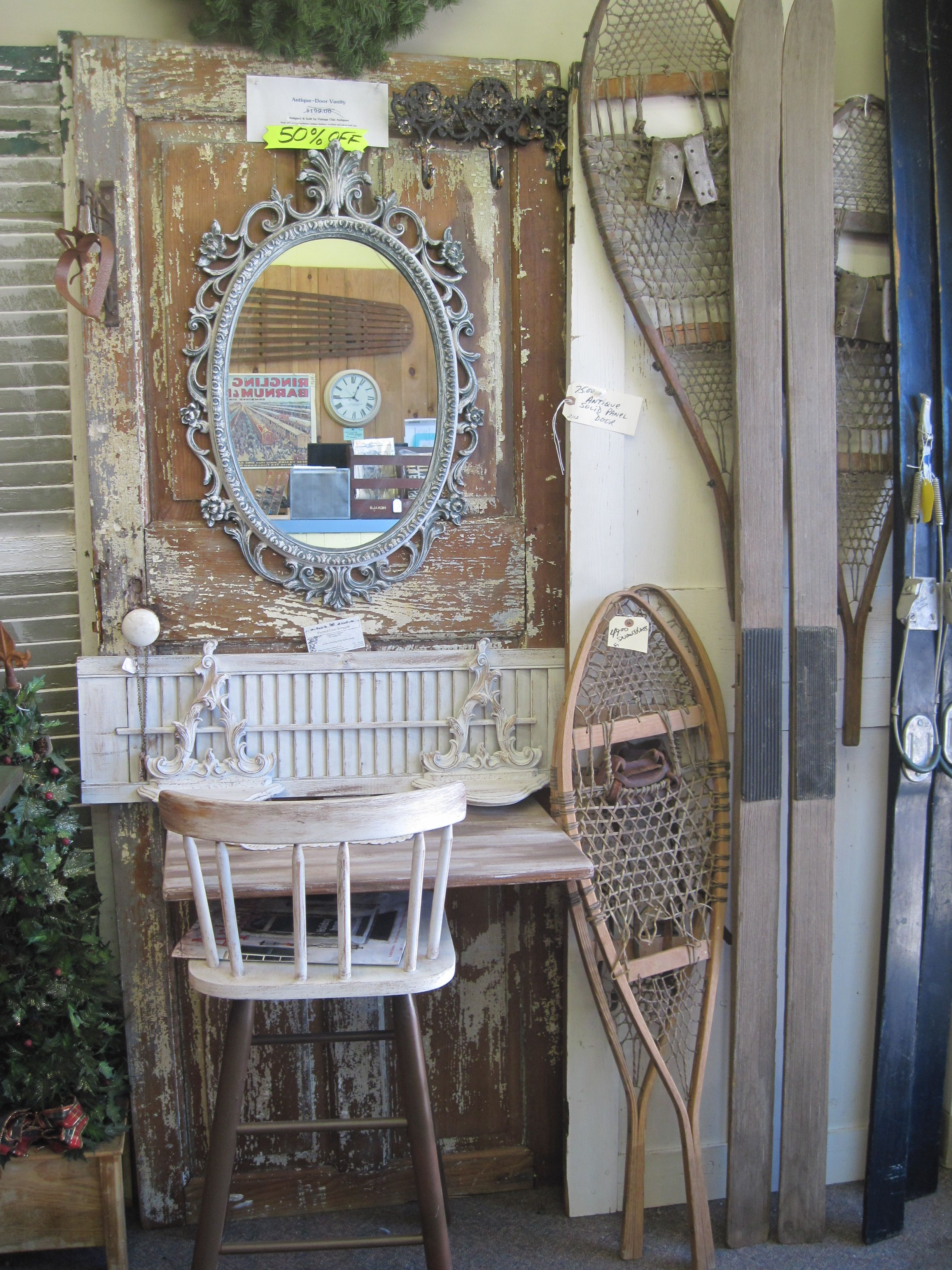 mirrored dressing vanity from salvaged door! - $99 by vintage chic