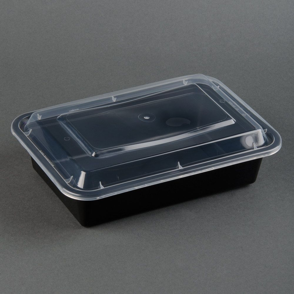 Black 38 Oz 8 X 6 X 2 Rectangular Microwavable Container With