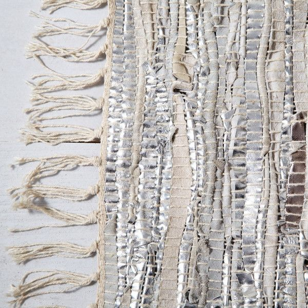 Pictures of Hand Loomed Rug - Silver/Leather