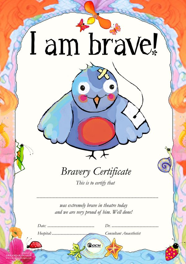 Bravery Certificates For Children Undergoing Tiva Tci By Christine