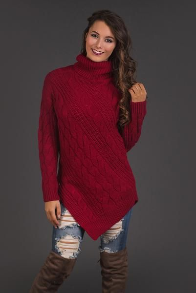 Point At You Cable Knit Turtleneck Pointed Hem Sweater (Cranberry)