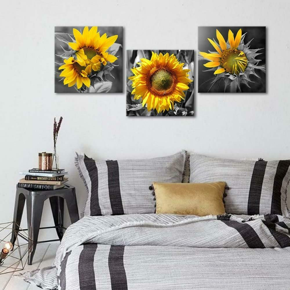 Wall Art Canvas Sunflower 3 Piece Bedroom Home Decor Rustic 12x12 Floral New Wall Decor Bedroom Modern Wall Decor Bedroom Wall