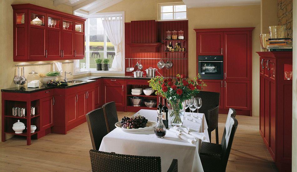Landhaus-Einbauküche Spinell Karminrot - Küchen Quelle Living - www küchen quelle de