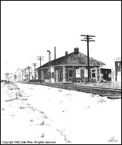 1980 drawing of Jonesboro GA train station by artist Dale