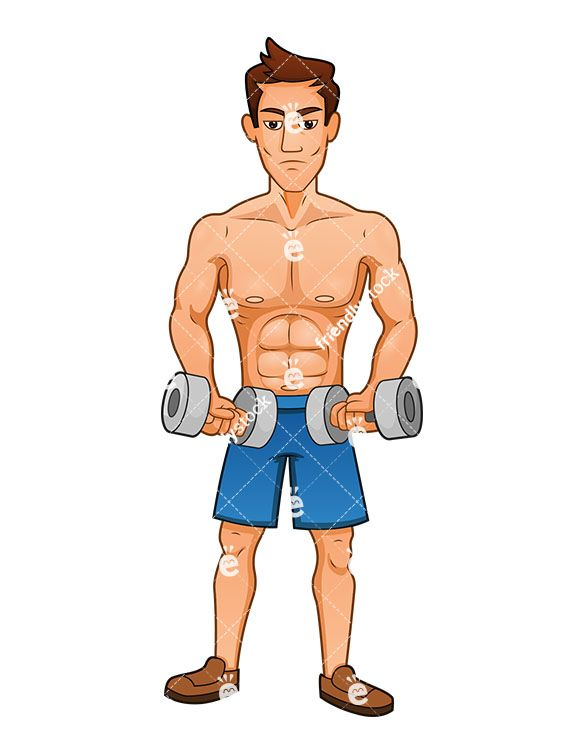 a buff man exercising with dumbbells royaltyfree stock