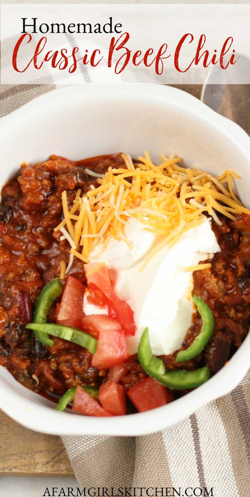 Homemade Classic Beef Chili Recipe Beef Chili Recipe Classic Chili Recipe Traditional Chili Recipe