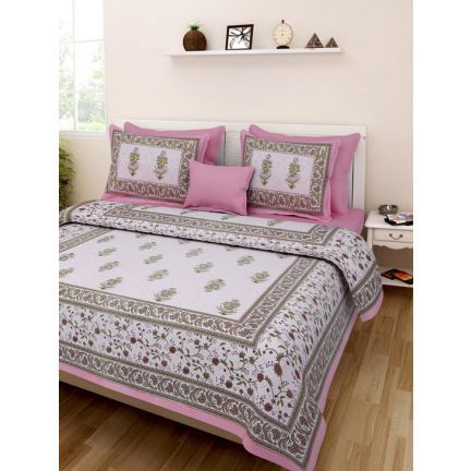 Uniqchoice Floral Jaipuri Double Bed Sheet Set Pink Add Oodles Of Style To Your Home With An Exciting Bed Sheet Sets Traditional Bed Sheets Double Bed Sheets
