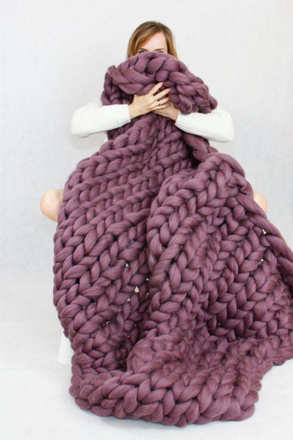 Chunky Knit Blanket Knit Blanket Giant Throw Arm Knitting Chunky Yarn Merino Wool Thick Yarn Home Decor Boho Christmas Present Gift Diy Knit Blanket Thick Yarn Blanket Giant Knit Blanket