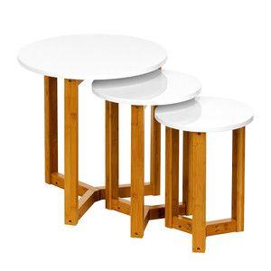 Tisch Weiß-Bambus 3er-Set, 99€, jetzt auf Fab.