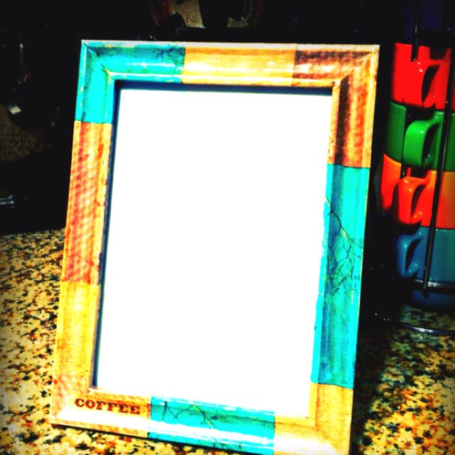 Decoupage picture frame. Just save pages out of old magazines--free ...