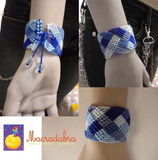 #Brazalete en #Macramé en Azules by Macradabra